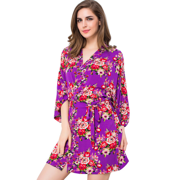 Purple Floral Cotton Robe