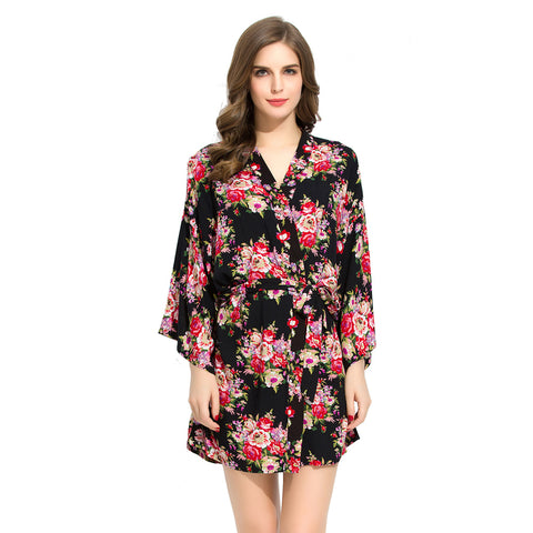 Black Floral Cotton Robe