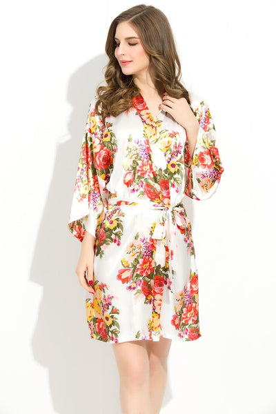 Set of 4 Floral Bridesmaid Robes - Kimonos
