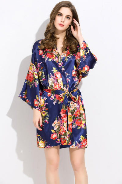 Midnight-Blue Floral Bridesmaid Robes Kimono