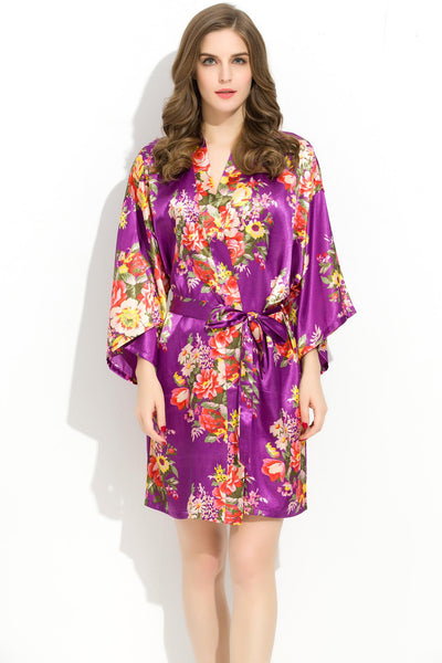 Royal Purple Floral Bridesmaid Robes Kimono