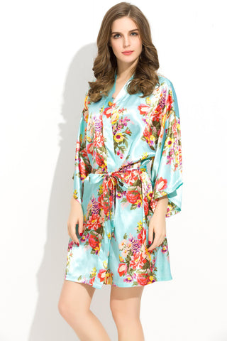 Mint-Blue Floral Bridesmaid Robes Kimono