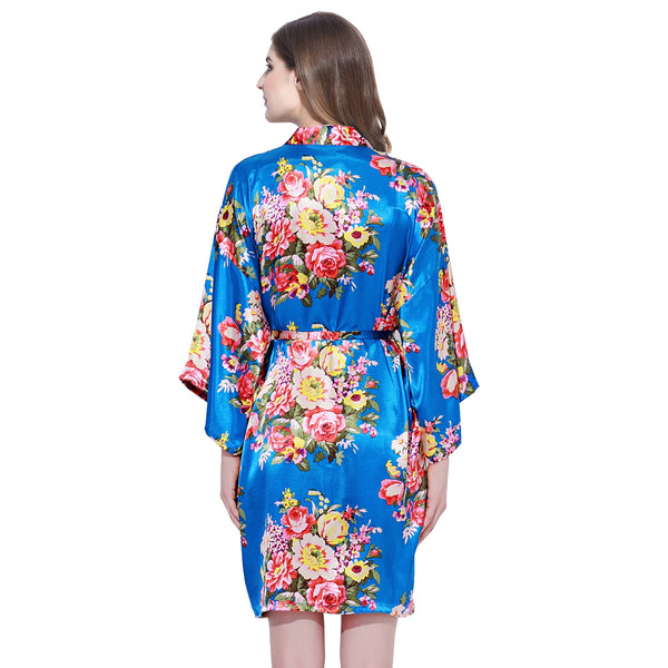 Royal Blue Floral Bridesmaid Robes Kimono