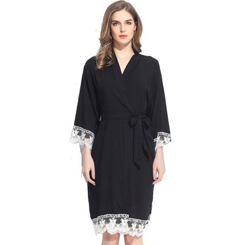 Black Cotton Lace Robe