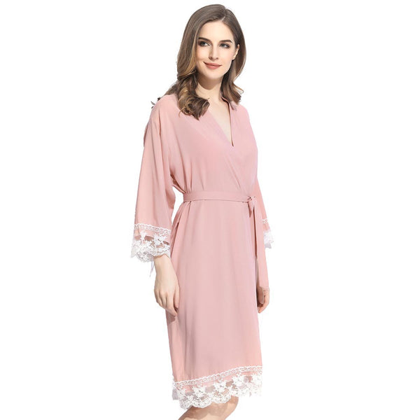 Blush Cotton Lace Robe