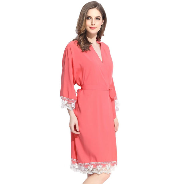 Coral Cotton Lace Robe