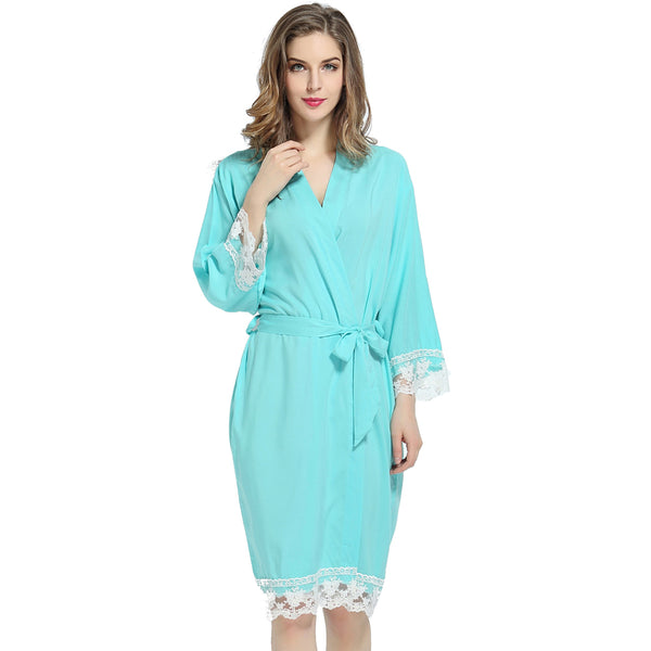 Mint Blue Cotton Lace Robe