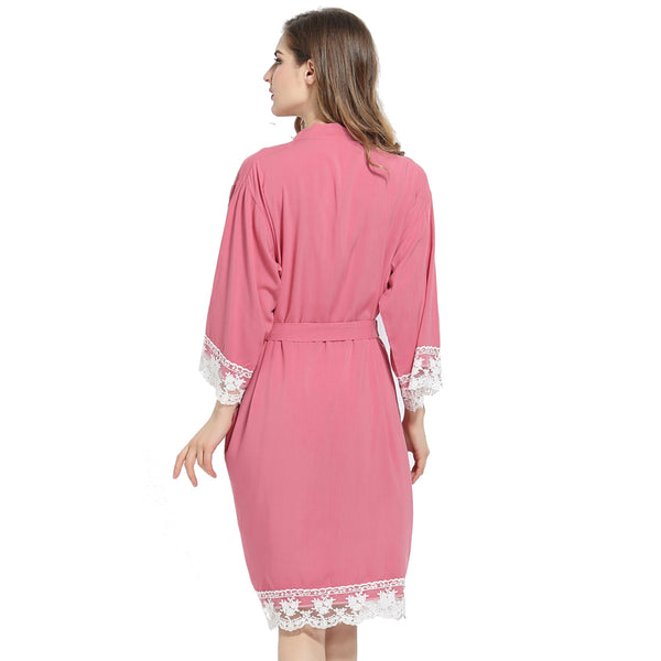 Dusty Pink Cotton Lace Robe