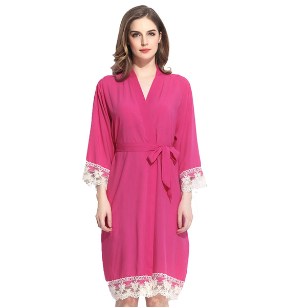 Rose Pink Cotton Lace Robe