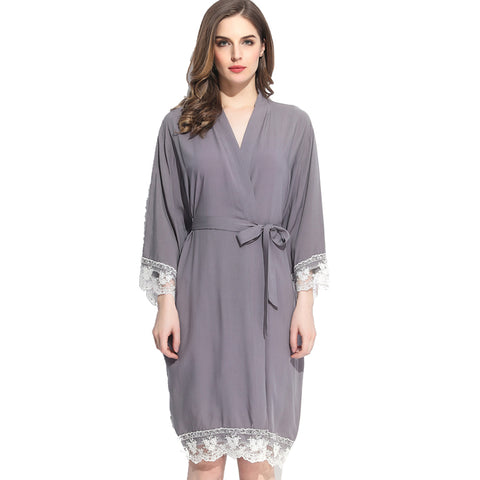 Gray Cotton Lace Robe