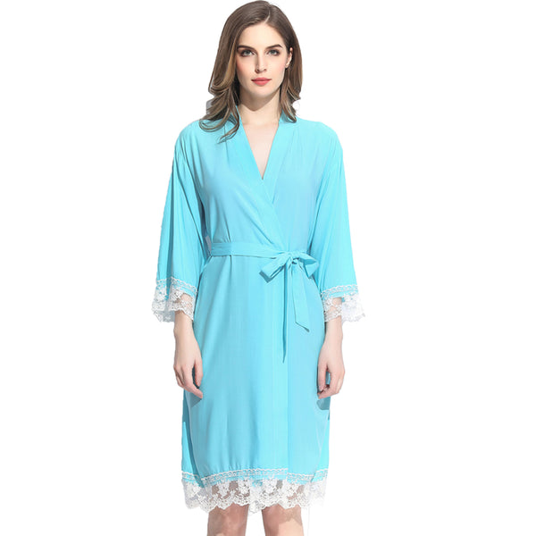 Light Turquoise Cotton Lace Robe