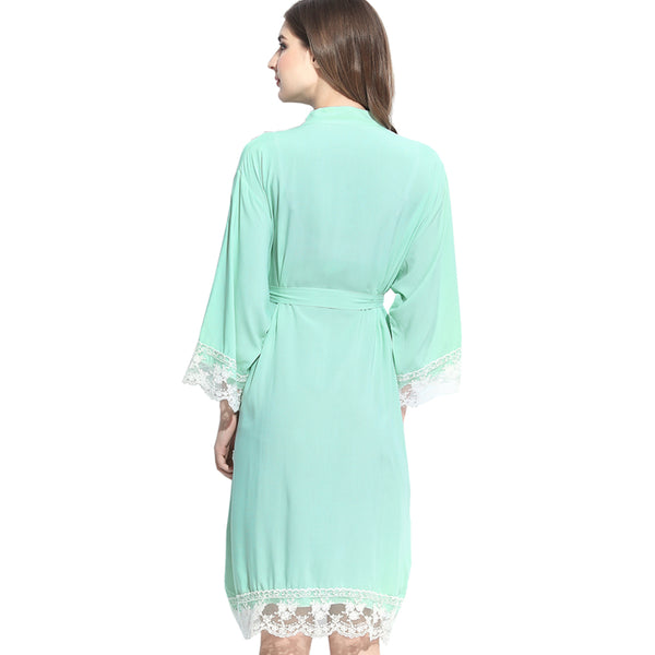 Mint Green Cotton Lace Robe