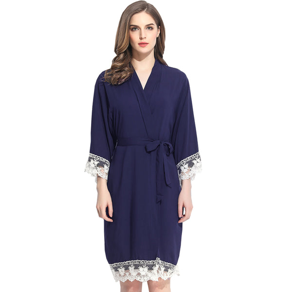 Midnight Blue Cotton Lace Robe