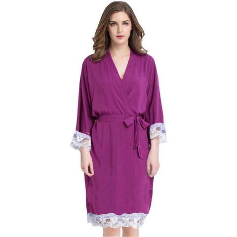 Royal Purple Cotton Lace Robe
