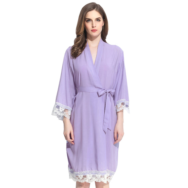 Lavender Cotton Lace Robe