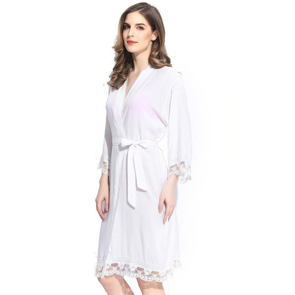 White Cotton Lace Robe