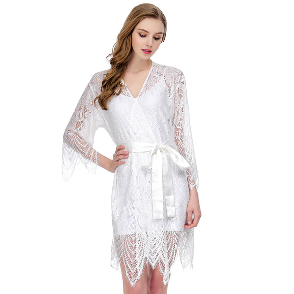 Short White Bridal Robe in Lace and Silk
