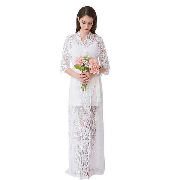 White Bridal Robe in Lace and Silk