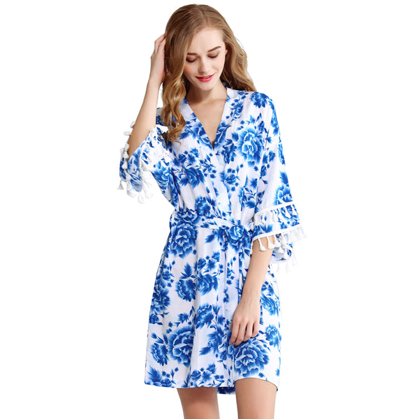 Something Blue Cotton Robe with Tassels