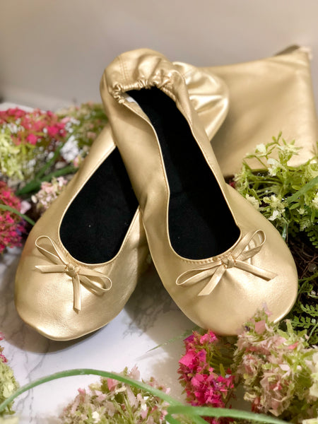 Vintage Gold Foldable Dancing Flats with Pouch