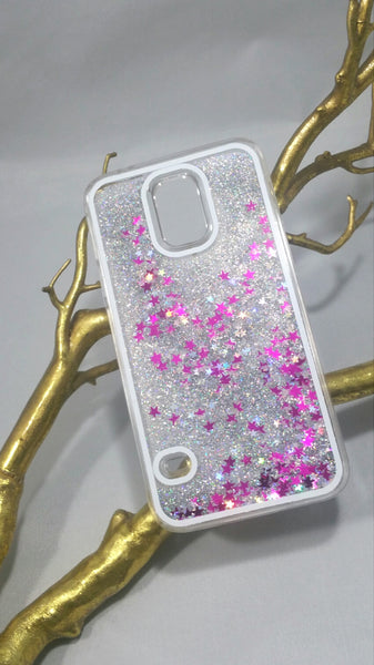 Silver Liquid glitter Case with stars! For Samsung Galaxy S5