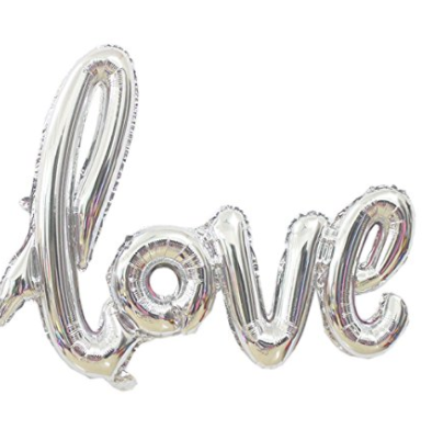 Silver Love Balloon