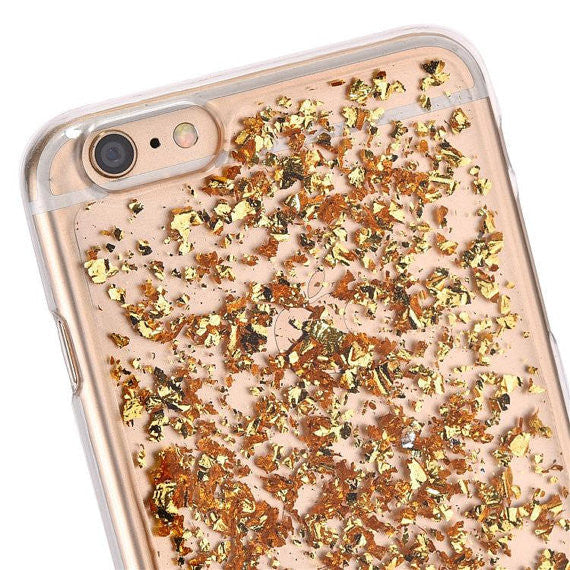 Rose Gold Foil Leaves Case