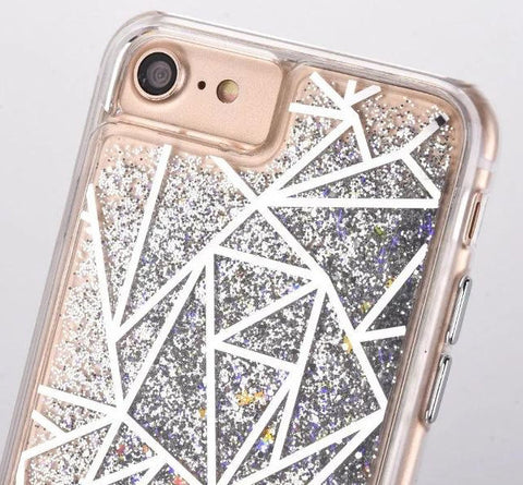 Geometric Liquid Glitter Case