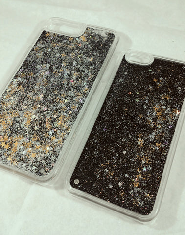 Black Liquid Glitter Transparent Case