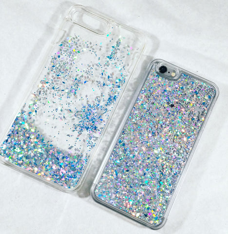 Ice Blue Liquid Glitter Case