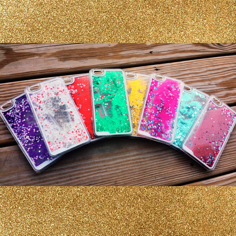Liquid Glitter Heart iPhone Cases