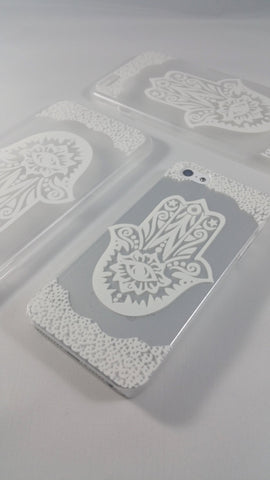 White Henna Hamsa Hand Case for iPhone & Samsung