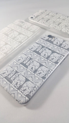 White Henna Elephants Case for iPhone & Samsung