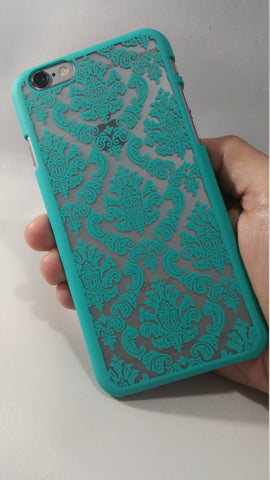 Vintage Mint Green Damask iPhone Case
