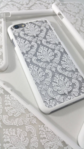 Vintage White Damask iPhone Case