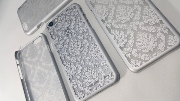 Vintage Silver Damask iPhone Case