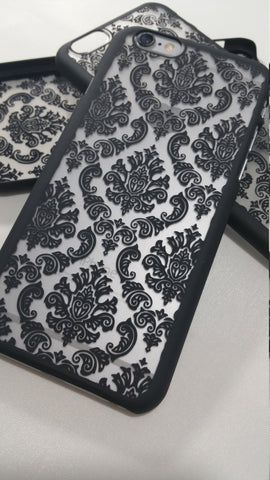 Vintage Black Damask iPhone Case