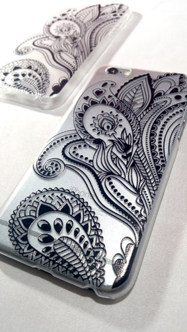 Black Henna Paisley iPhone Case