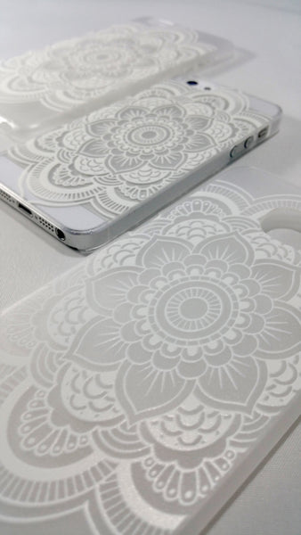 White Henna Mandala Case for iPhone and Samsung