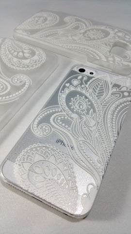 White Henna Paisley Case for iPhone & Samsung