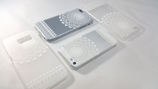 White Henna Mandala Case for iPhone & Samsung