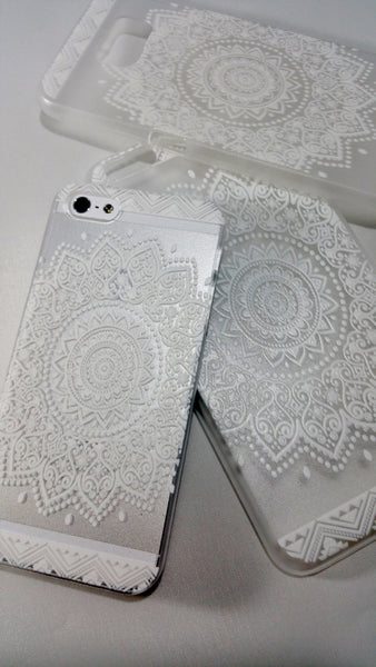 White Henna Floral Mandala Case for iPhone & Samsung