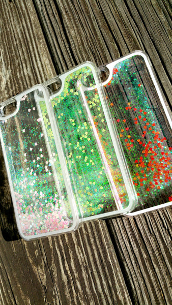 Holographic Liquid Heart Glitter iPhone Cases