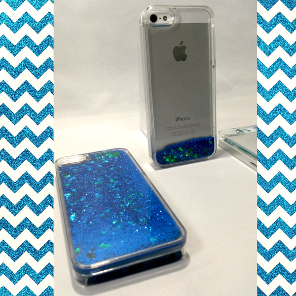 Blue Liquid Glitter with Green Hearts iPhone Case