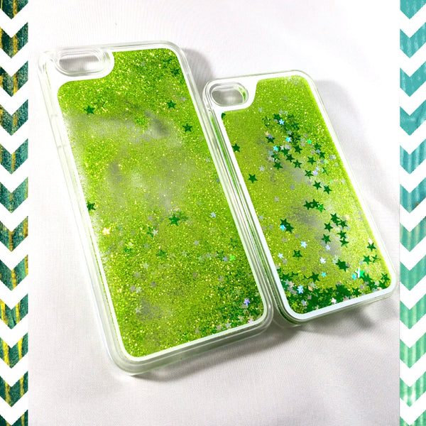 Lime Green Liquid glitter Case with stars