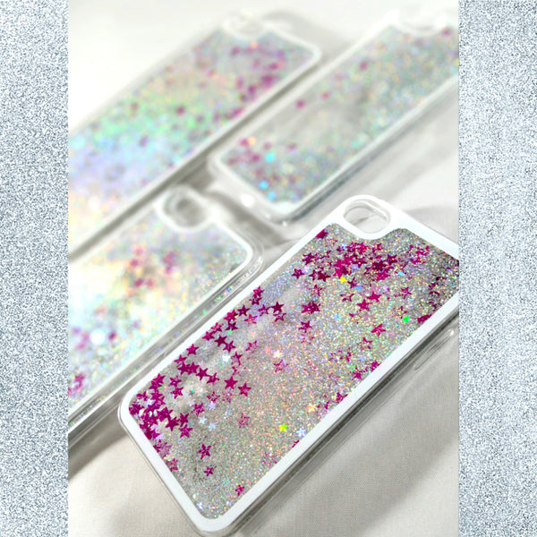 Silver Liquid glitter Case with pink stars