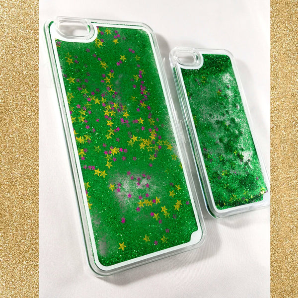 Green Liquid glitter Case with stars! For iPhone 5/5s and iPhone 6 plus/6s plus