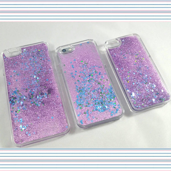 Purple Liquid glitter transparent Case with blue hearts and green stars!