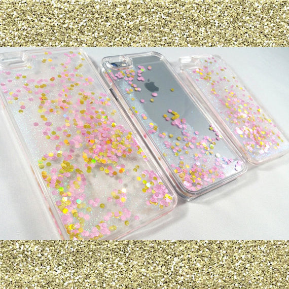 White Liquid glitter transparent Case with pink stars!