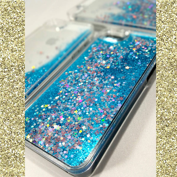Blue liquid Glitter iPhone Case With Stars